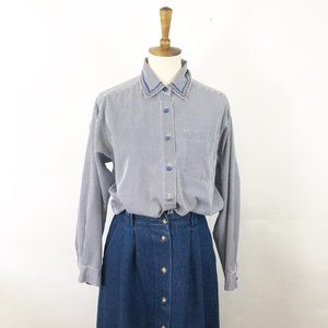 Vintage 90's Blue Embroidered Pinstripe Button Up